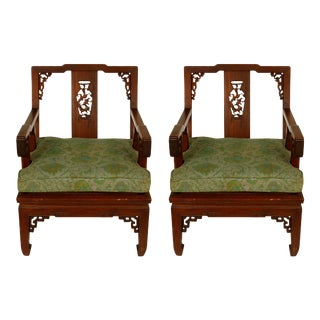 Pair of Asian Carved Hardwood Chairs For Sale