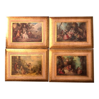 Vintage Italian Florentine Gilded Wall Plaques - Set of 4 For Sale