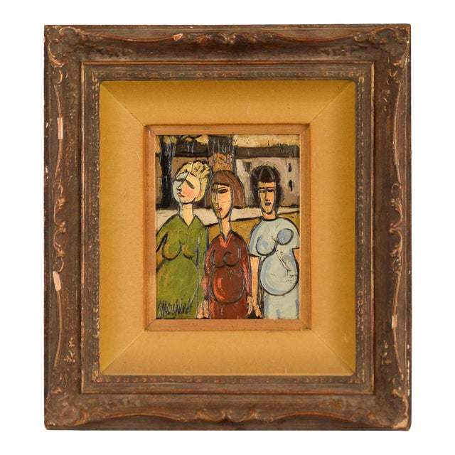 """Phillipe Marchand """"3 Pregnant Women"""" Mid-Century Cubist Oil Painting For Sale"""