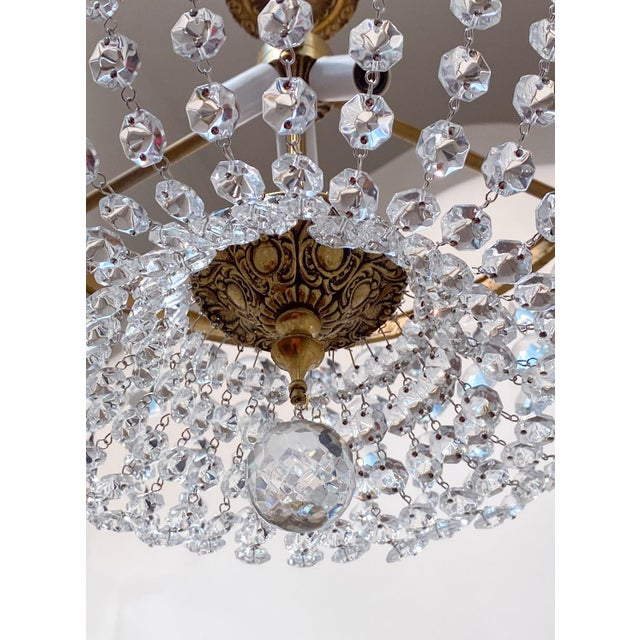 Traditional Italian Brass Basket Chandelier For Sale - Image 3 of 5