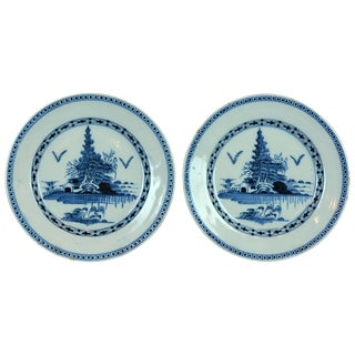 18th Century Chinoiserie Delft Blue and White Ceramic Plates - a Pair