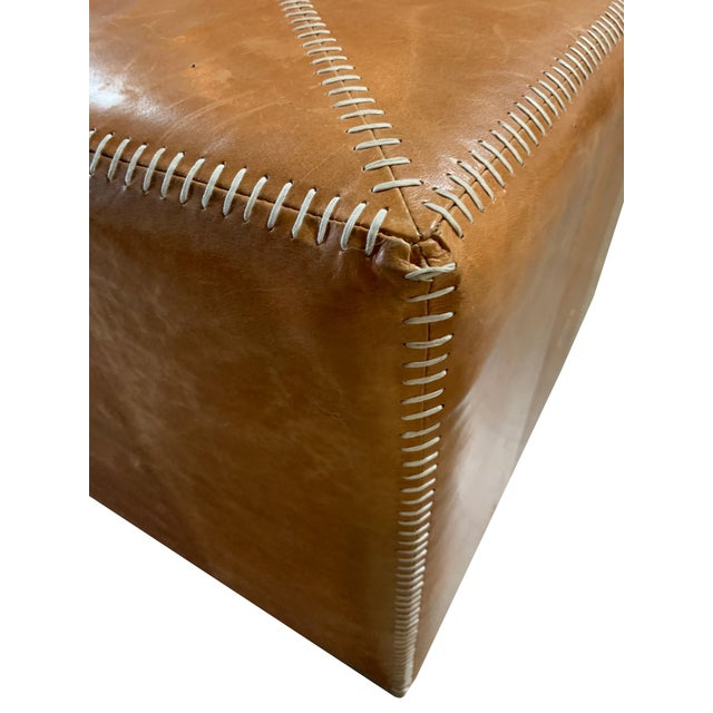 Transitional 21st Century Buff Leather Ottoman For Sale - Image 3 of 4