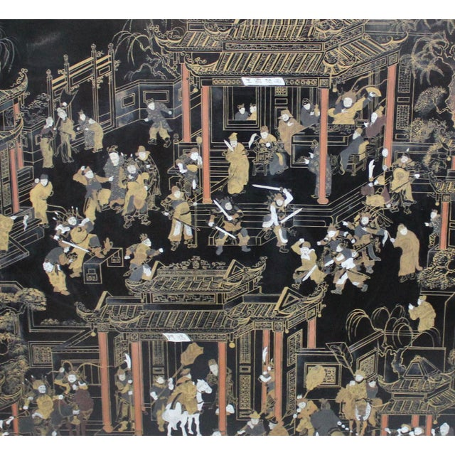 Large Vintage Chinese Black Lacquer Wall Panel - Image 3 of 9
