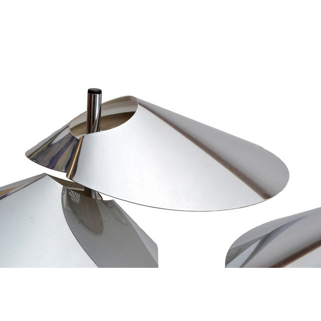 1970s Curtis Jere Double Sided 'Visor' Table Lamps in Chrome, A Pair For Sale - Image 5 of 10