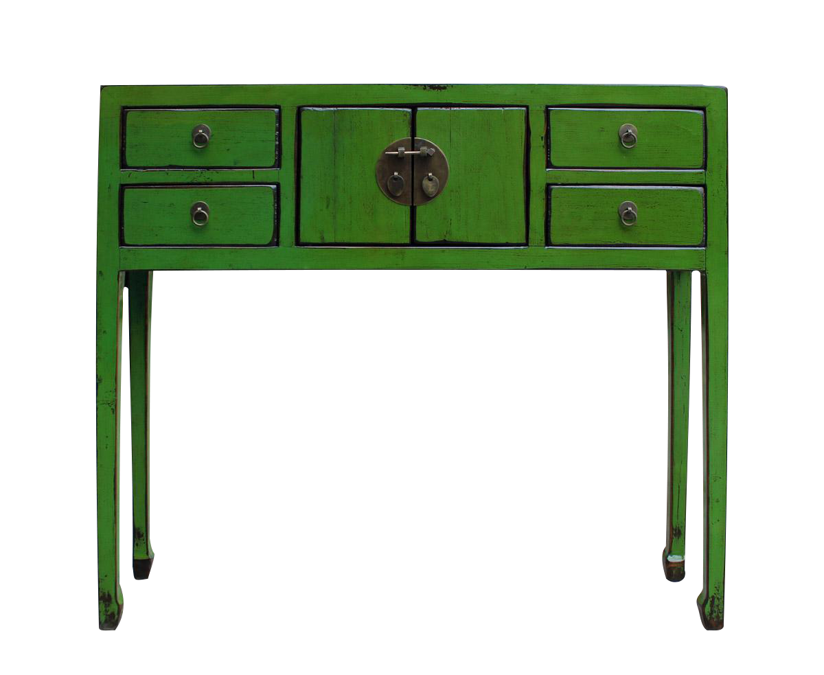 Chinese Distressed Green Console Table