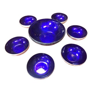 1960s Mid-Century Modern Laras of Italy Silver and Blu Lacquered Serving Bowls - Set of 7 For Sale