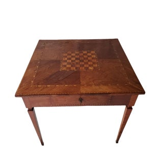 18/19th Century Italian Neoclassical Burlded Walnut Inlaid Game Center Table For Sale