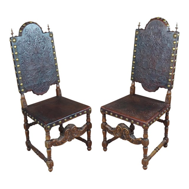 19th Century Portuguese Side Chairs Embossed Leather -A Pair For Sale