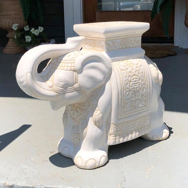 Ceramic 1970s Chinese Chinoiserie White Happy Lucky Elephant Side Table or Garden Stool For Sale - Image 7 of 7