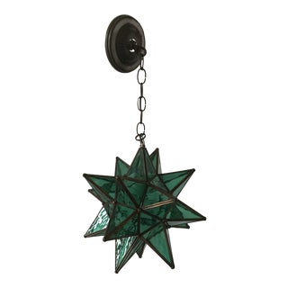 1960s Vintage Moroccan Green Star Lantern For Sale