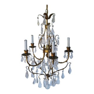 Gilt Brass Five Light Chandelier For Sale