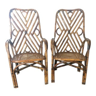 1960s Bamboo Rattan Regency Chairs- A Pair For Sale
