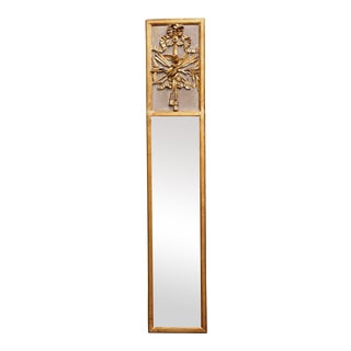 Mid-19th Century French Louis XVI Giltwood Trumeau Mirror With Bird Decor For Sale