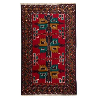 "Traditional Tribal Style Baluchi Handmade Rug - 3'7"" X 6'5"" For Sale"