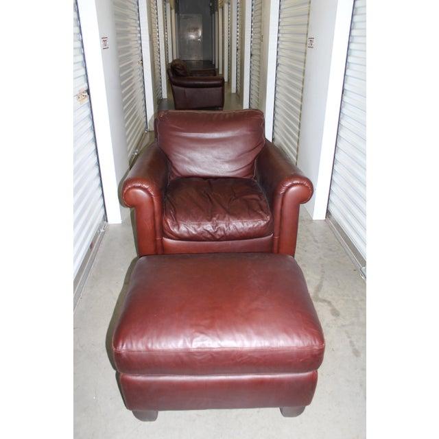 Natuzzi Leather Club Chair & Ottoman - Image 2 of 5