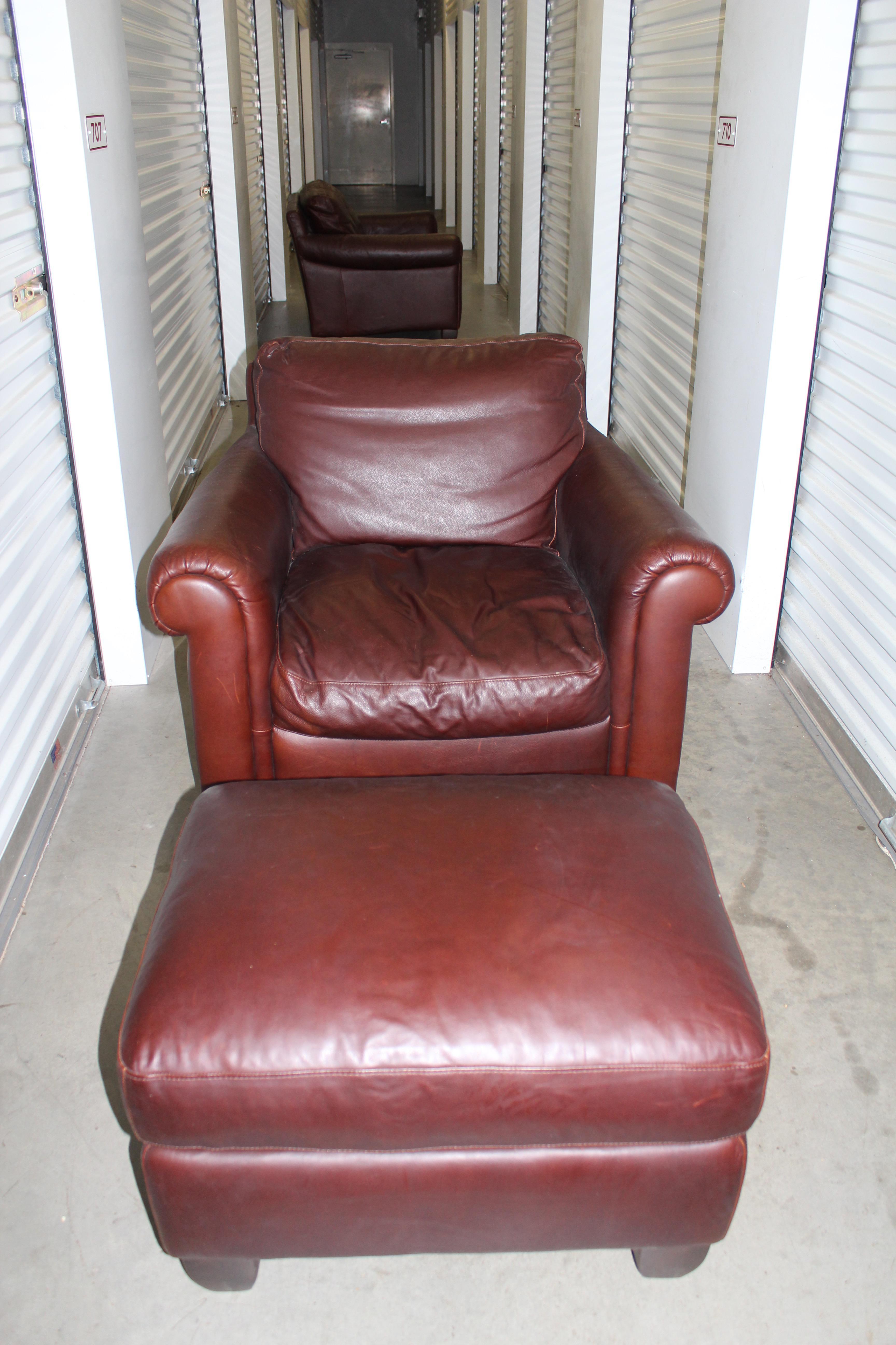 Natuzzi Leather Club Chair Ottoman Chairish