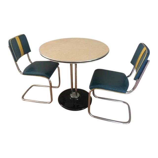 RoyalChrome Furniture Art Deco Dinette 3-Piece Set For Sale