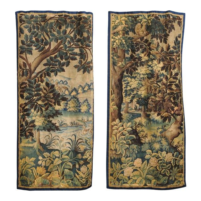 Pair of 19th Century French Handmade Vertical Tapestries with Pastoral Scenes For Sale