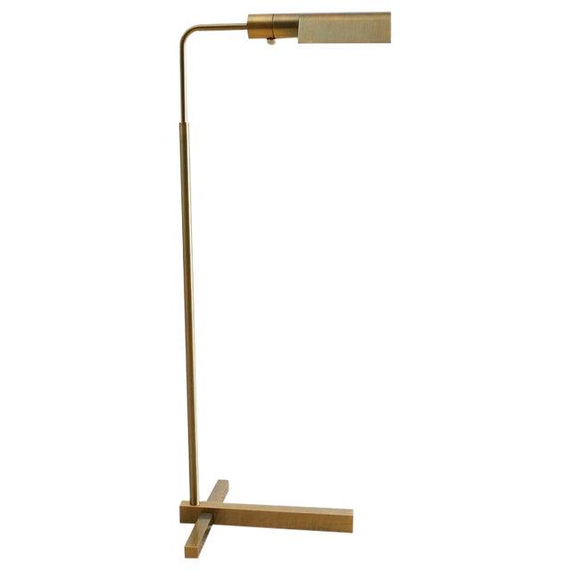 Casella Brass Height Adjustable Pharmacy Floor Lamp For Sale