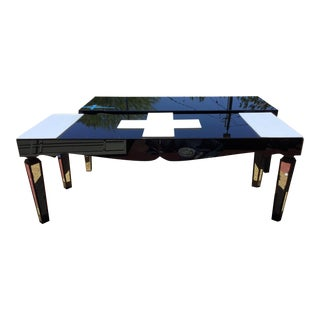 Abstract White Acrylic & Black Beveled Mirror Hall Table