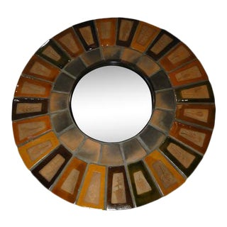 1960s French Ceramic Mirror by Roger Capron For Sale