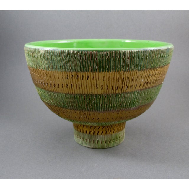 Bisotti Italian Green & Gold Footed Pottery Bowl - Image 2 of 6