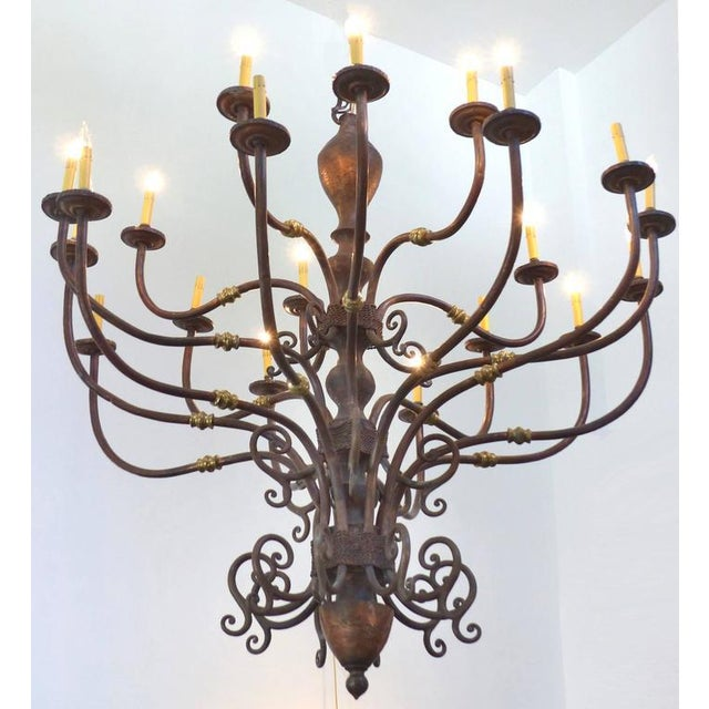 Large Early 1900s Handmade Copper and Brass Chandelier - Image 2 of 9