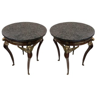 Imperial Style Side Tables With Black Marble Tops - a Pair For Sale