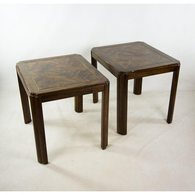 Campaign Drexel Campaign Style Burl Wood Side Tables - A Pair For Sale - Image 3 of 13