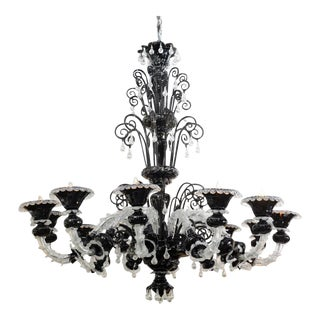 Monumental Venetian Black and Clear Glass 12-Arm Chandelier, Murano For Sale