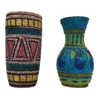 Italian Mid-Century Modern Pottery Vases - a Pair For Sale
