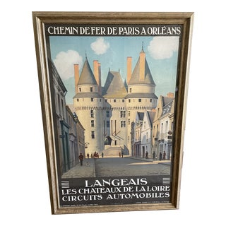 Early 20th Century French Travel Poster Chemin De Fer by Constant Duval, Framed For Sale