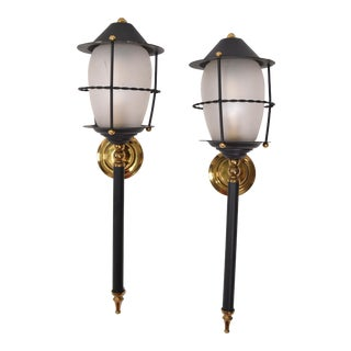Maison Lunel Black Glass & Brass Lantern Wall Mounted Sconces, France - a Pair For Sale