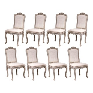 Early 20th Century French Carved Painted Set of Eight Louis XV Dining Chairs For Sale