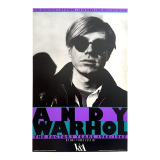 "Rare Vintage 1989 "" Andy Warhol the Factory Years 1964 - 1967 "" Nat Finkelstein Lithograph Print Photography Exhibition Poster For Sale"