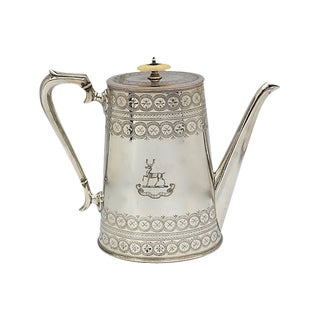 Antique English Silver-Plate Coffee Pot W/ Stag Crest For Sale