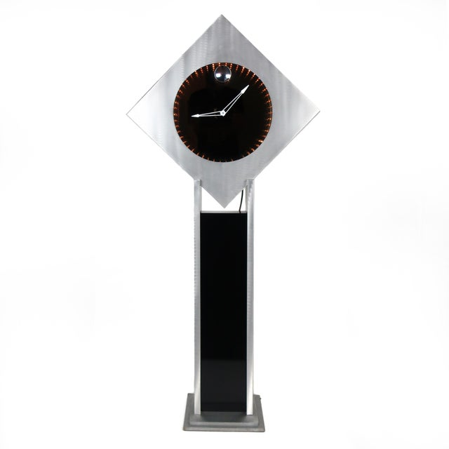 Brushed Aluminum Infinity Clock With Stand For Sale - Image 13 of 13
