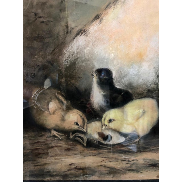Early 20th Century Antique Original Framed & Matted Pastel Feeding Time for Three Chicks Painting For Sale - Image 4 of 8