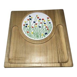 Georges Briard Wooden Tray With Floral Tile For Sale