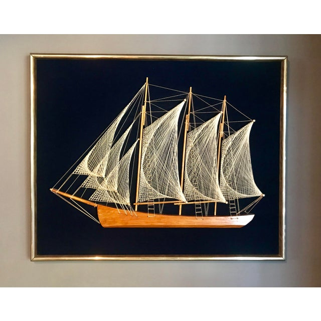 Mid 20th Century Wood and String Ship Wall Decor For Sale In Los Angeles - Image 6 of 6
