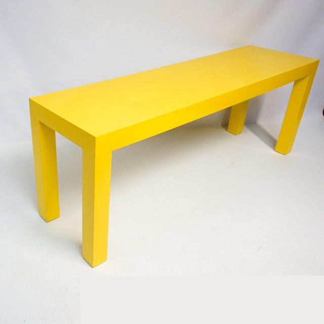 1970's Long Yellow Wooden Parsons Table - Image 7 of 7
