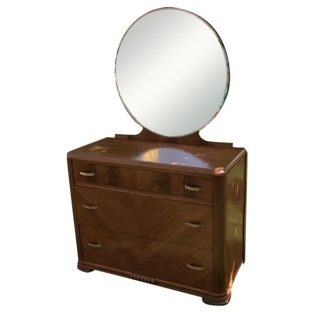 1930s Kroehler Waterfall Dresser & Mirror - Image 1 of 9