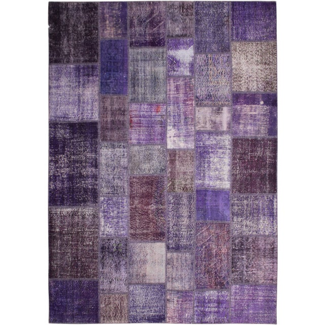 "Hand Knotted Purple Patchwork Rug by Aara Rugs Inc. - 10'0"" X 8'0"" For Sale"