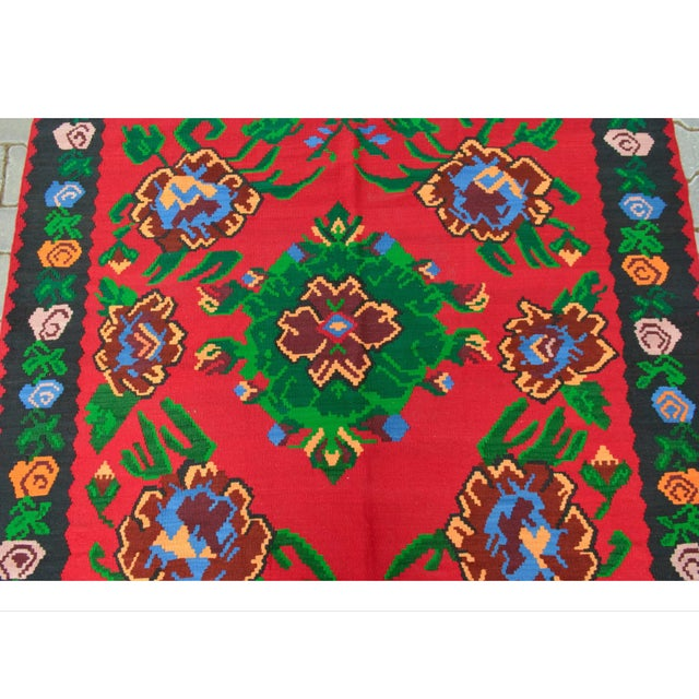 Turkish Hand-Woven Wool Kilim Rug - 5′3″ × 7′5″ - Image 7 of 8