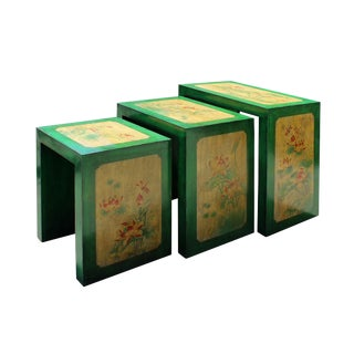 Distressed Oriental Lotus Flower Nesting Tables - Set of 3 For Sale