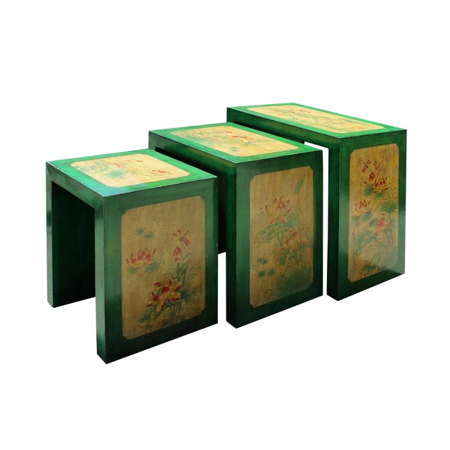 Distressed Oriental Lotus Flower Nesting Tables Set Of 3