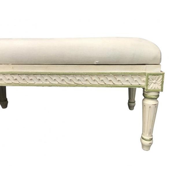 French Vintage Mid Century French Style Long Bench For Sale - Image 3 of 7