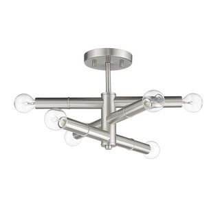Linear 6 Light Semi-Flush Ceiling, Satin Nickel For Sale
