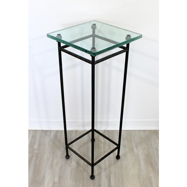 Metal Contemporary Modern Square Steel & Frosted Glass Pedestal Display Stand 1980s For Sale - Image 7 of 7