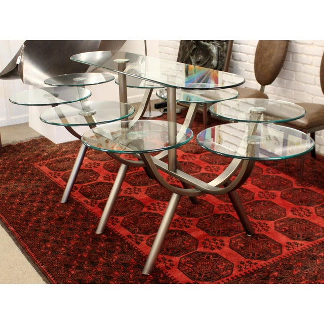 DIA - Design Institute America Contemporary Modern Dia Circle of Life Dining Set Table Chairs 1980s Glass Steel - Set of 9 For Sale - Image 4 of 12